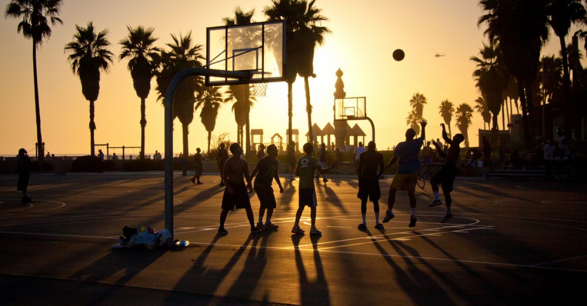 basketball-at-sunset